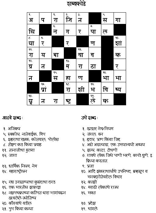Oct 2006 Crossword Answer